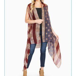 NWT! American Flag Duster Kimono